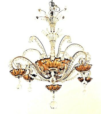 French 1940s Gilt Brass and Cut Glass Chandelier