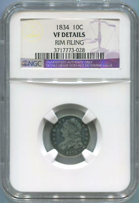 1834 Bust Dime. NGC VF Details.