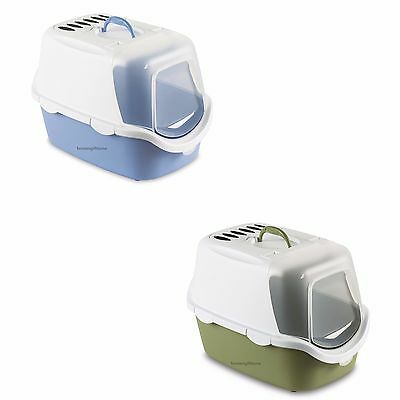 Pet Cat Litter Tray Litter Box Filter Hooded Gated Flap Scoop Front Opening