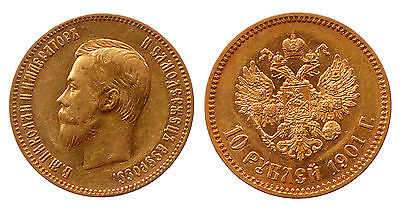 RUSSIA 10 Roubles Rubel 1901 AP Gold UNC Condition, Nicholas II (1895-1917)