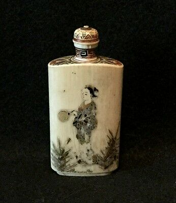 c. 19th c. Signed Meiji Hand Carved & Hand Painted Japanese Export Snuff Bottle