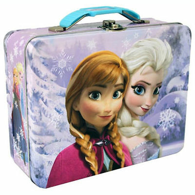 Disney Frozen Anna n Elsa Storage Carry All Tin Girl Lunch Boxes Case Gift Bags