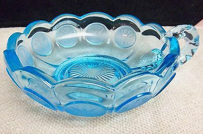 "Hard To Find Fostoria Coin Pattern Nappy Light Blue 5 3/8"" X 2"" Excellent"