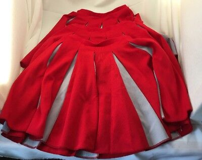 "Bristol Products Cheerleading Skirts Set of 3 Red and Gray Size Small 20"" Waist"