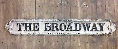 Vintage Victorian cast iron road sign THE BROADWAY architectural salvage