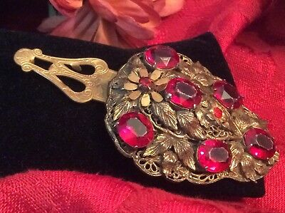 Vintage Antique Gold Gilt Shield DRESS CLIP Molded Red Press Glass Open Worked
