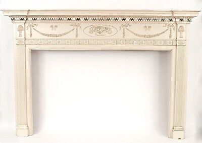 English Adam Style (1920s) White Painted Wood Fireplace Mantel