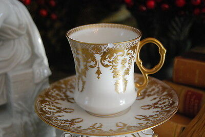 French Limoges D G Bernardaud Gold White Beaded Jewels Chocolate Cup & Saucer #3
