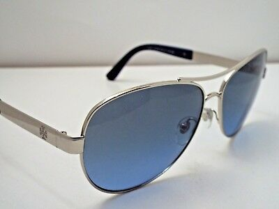 49372d54649 Authentic Tory Burch TY6047 31618F Blue Silver Blue Lens Gradnt Sunglasses   215