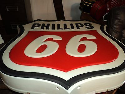 """1960's Phillips 66 Gas Station Lighted Embossed Sign  3'6"""" X 3'6"""" pickup only"""