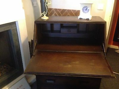 Jentique Antique Carved Oak Bureau May Deliver
