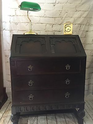 Antique Solid Oak Carved Bureau May Deliver
