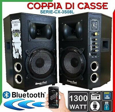 COPPIA DI CASSE CX3 AMPLIFICATE 1300W USB SD Mp3 Bluetooth WIRELESS KARAOKE DJ