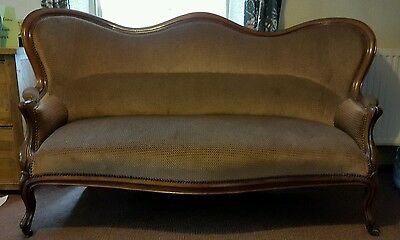 Louis Canape style French Sofa Mahogany Upholstered
