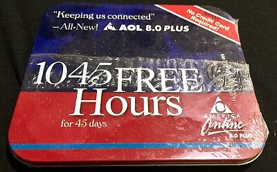 AOL 45 Day Free Trial Disc vtg New Never Opened Shrink-wrap Sealed Tin Case