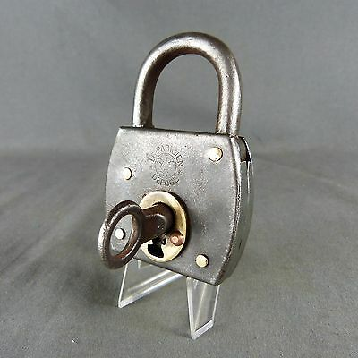 Antique French Large Padlock: 19thC Cast Iron & Copper - Works with Key Stamped