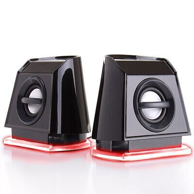 Computer Speakers with Red LED Accents, USB Connection and Passive Subwoofer