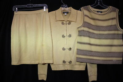 ST. JOHN Collection By Marie Gray 3 Pc Cream&Brown Skirt Set Womens Size 6/S-B93