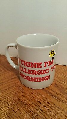 I THINK I'M ALLERGIC TO MORNING! Snoopy Peanuts Vintage Ceramic Coffee Mug/ Cup
