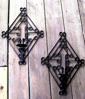 Large Vintage Ornate Wrought Iron Wall Sconce Home & Garden Taper Candle Holders