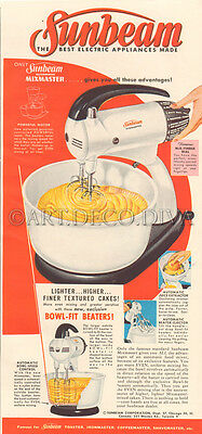 VTG 1950's Sunbeam MIXMASTER Appliance Kitchen Food Mixer RETRO Red Cooking Ad