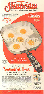 VTG 1950's Sunbeam Electric FRYING PAN Fried Egg RETRO Kitchen Red Cooking Ad