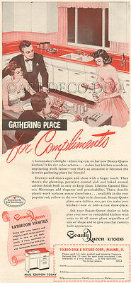 VTG 1950's BEAUTY QUEEN Kitchen Counter Cabinet HOME DECOR Bathroom Vanity Ad