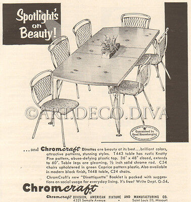 VTG 1950's Chromcraft DINETTE SET Table Chairs T443 C54 T448 C24 Furniture Ad