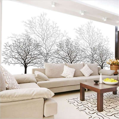 Black Tree White Background Full Wall Mural Photo Wallpaper Print 3D Decor Home