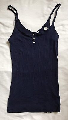 35e7253c98f56 NWT Juniors No Boundaries NOBO Ribbed 3 Button Tank Top w Lace NAVY BLUE S 3