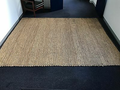Large Hand Woven Water Hyacinth Mat 2.96 MT x 2.4 MT with Brown Woven Trim