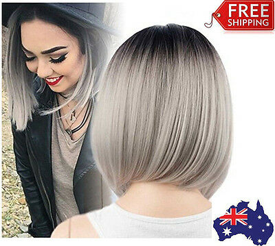 Bob Wig Grey Ombre Wigs Short Straight Synthetic Hair Full Wig for Women AU STOC