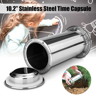 10.2''Stainless Steel Waterproof Time Capsule Lock Container Storage Future Gift