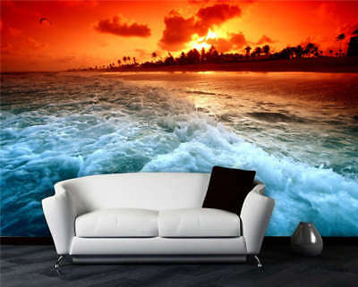 Sunset Beach Wave Full Wall Mural Photo Wallpaper Printing 3D Decor Kids Home