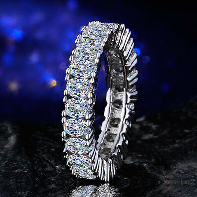 Women 925 Silver Jewelry Oval Cut White Sapphire Wedding Ring Size 6-10