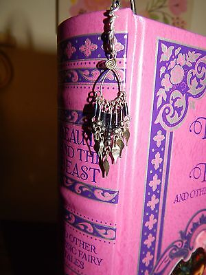 Handmade Recycled/Upcycled Metal Bookmark Dangling Beaded Silver Wire Wrapped