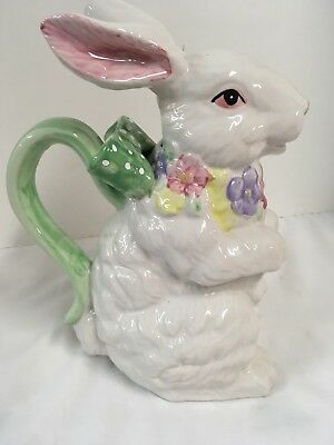 "Large Vintage Ceramic Rabbit Pitcher 1998 Heritage Pottery 10"" T"