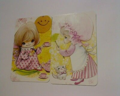 2 Single Swap/Playing Cards - Pair Cute Girls in Pink (Blank Backs)#