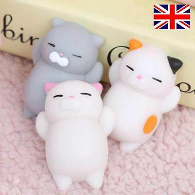 3x Kawaii Slow Soft Rising Squishy Squeeze Cute Cat Expression Smile Face Toy UK
