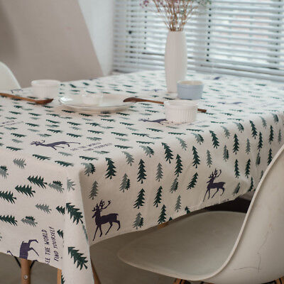 Cotton Linen Table Deco Print Christmas Customed Tablecloth Cover