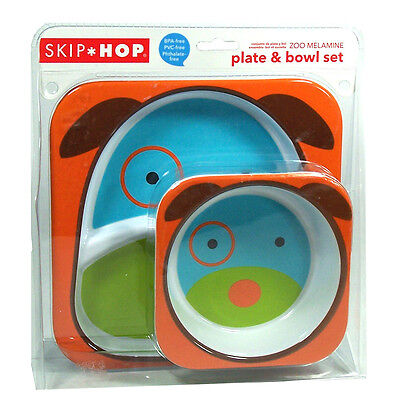 Skip Hop Zoo Melamine Plate and Bowl Set Baby Feeding Dishwasher Safe Dog NEW