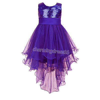 Kids Girls' Princess Dress Sequined Trailing Formal Wedding Party Pageant