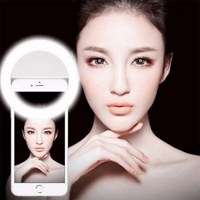USA Stock Selfie LED Ring Flash Camera Fill Light Clip For iPhone Andriod Phones