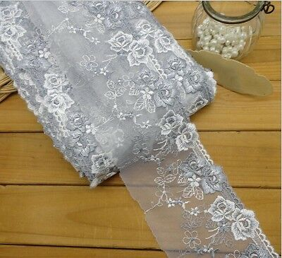 2Yards Lace Trimmings Grey Embroidered Ribbon Dress Edge Sewing DIY Craft 3.74''