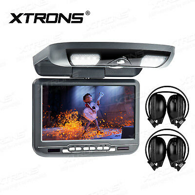 Gray 9'' Flip-Down Swivel Roof-Mount Monitor Car DVD Player Game IR Headphones