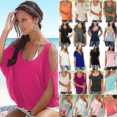 Plus Size Ladies Women Off Shoulder Loose T-Shirt Blouse Tops Summer Casual Wear