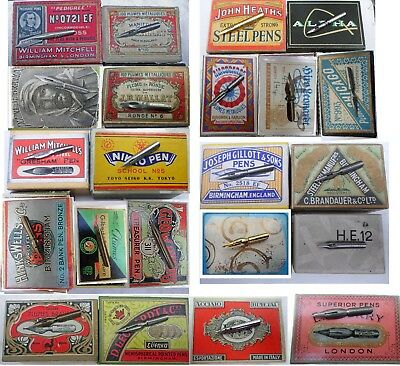 22 different vintage  nibs e.g.Gillott,Mitchell,Perry,Hughes