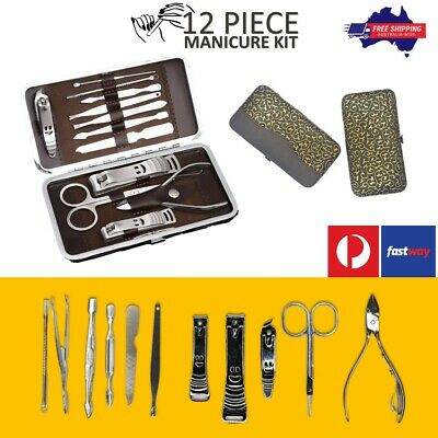 12pc Manicure Pedicure Set Stainless Steel Cutter Nail Clipper Kit Grooming Case
