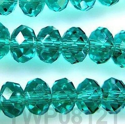 Hot 100pcs 4x6mm Crystal glass Loose Beads-darkgreen