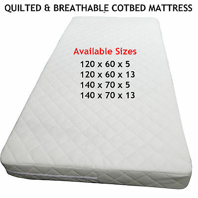 Baby Toddler QUILTED COT Mattress Fully Breathable Waterproof NURSERY Furniture